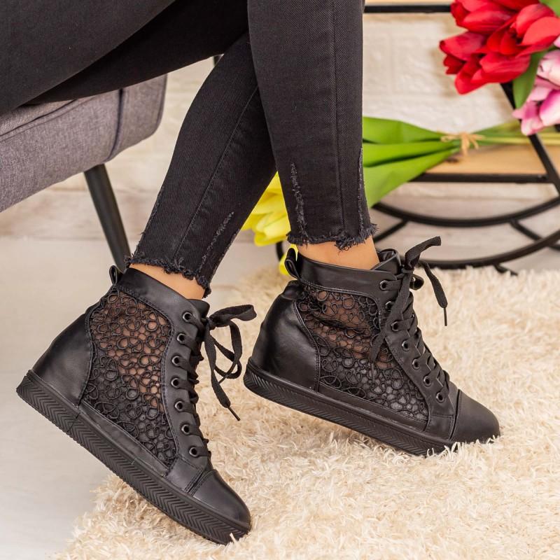 Pantofi Sport Dama cu Platforma K27 Negru Mei