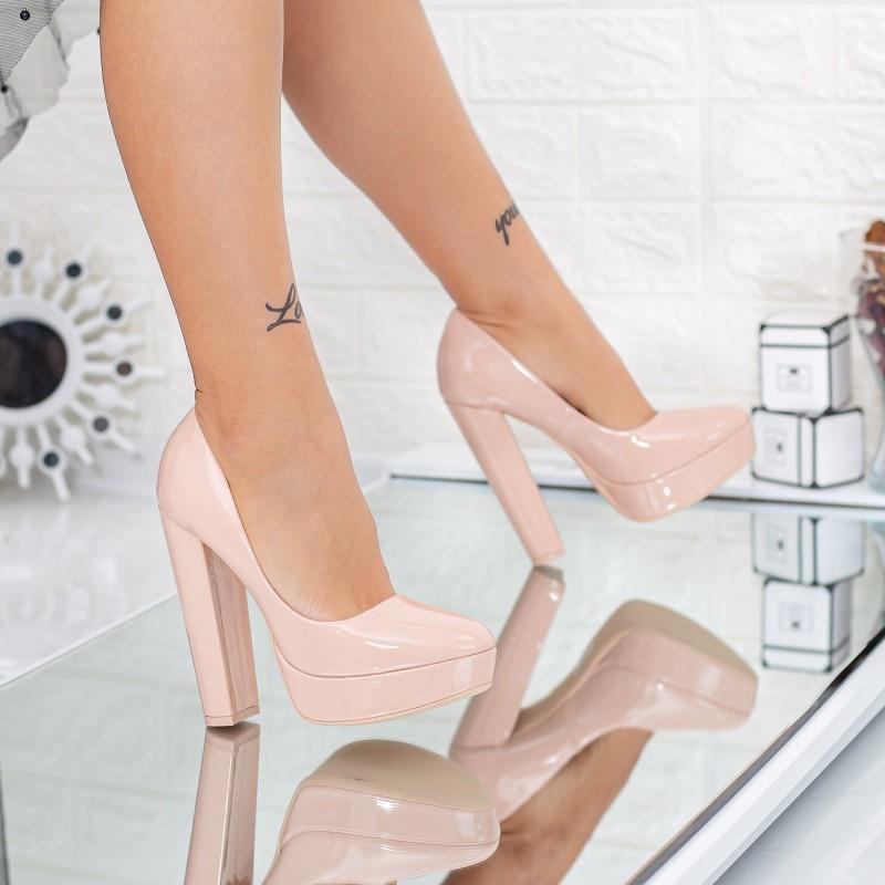 Pantofi cu Toc gros si Platforma GE51A Nude Mei
