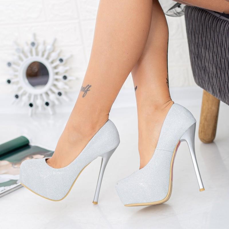 Pantofi cu Toc subtire si Platforma OLG1H Silver Mei