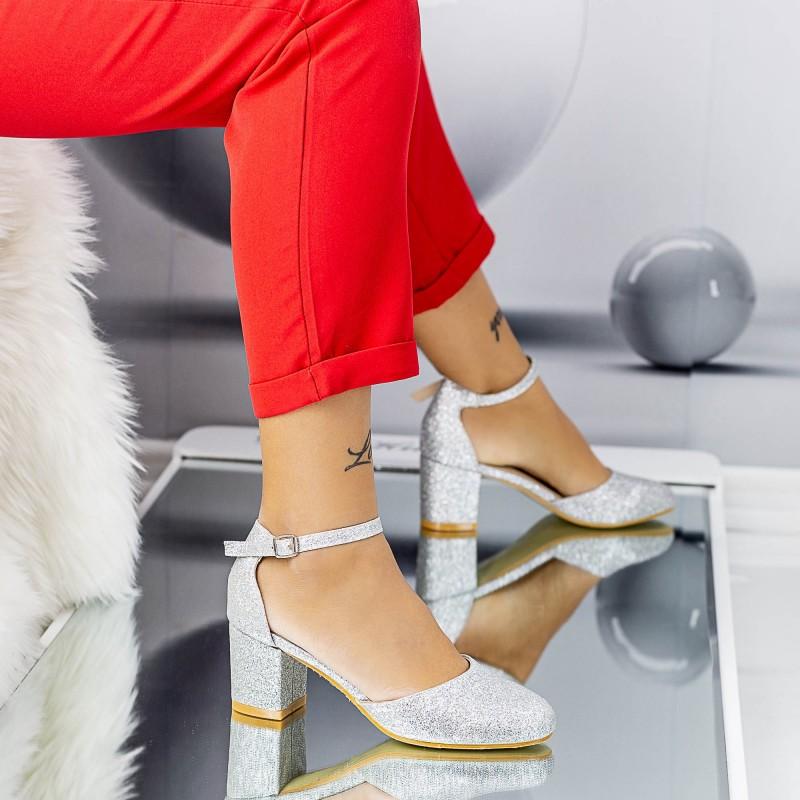 Pantofi cu Toc gros QZL200 Silver Mei
