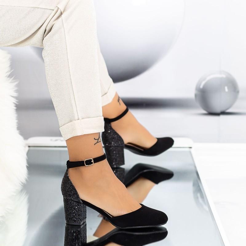 Pantofi cu Toc gros XD111 Black Mei