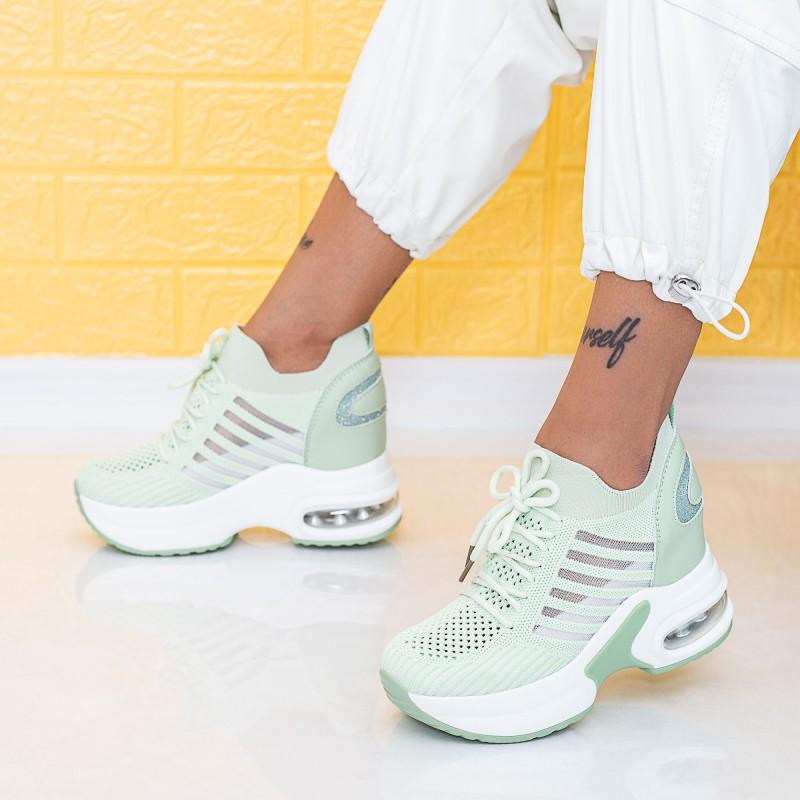 Pantofi Sport Dama cu Platforma WLGH58 Turcoaz Mei