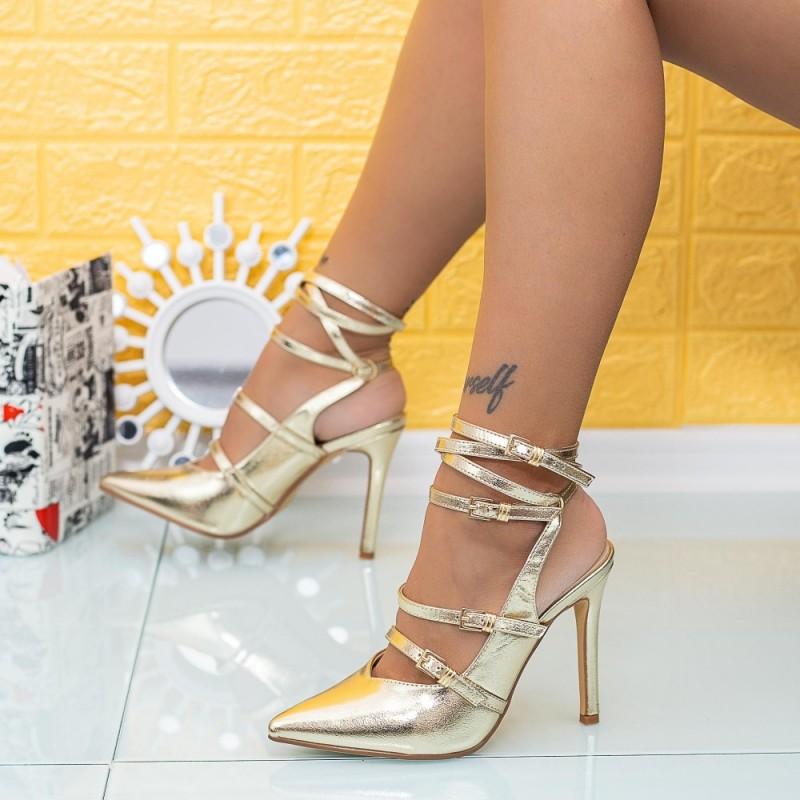 Sandale Dama cu Toc subtire XKK285 Auriu Mei