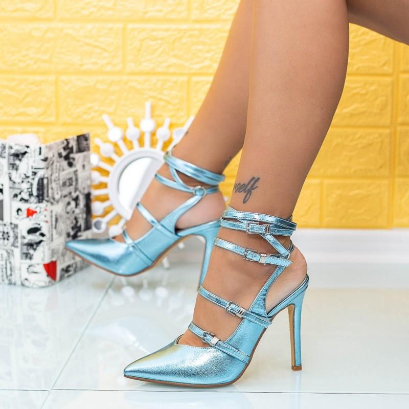 Sandale Dama cu Toc subtire XKK285 Albastru Mei