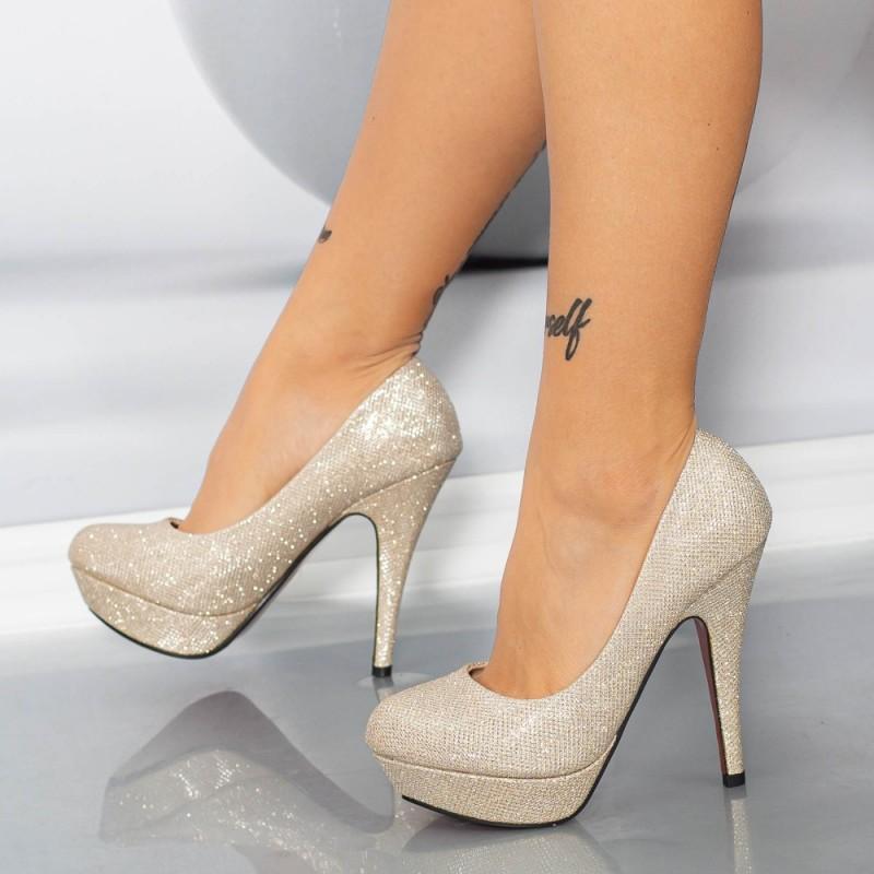 Pantofi cu Toc subtire Y216 Champagne Mei