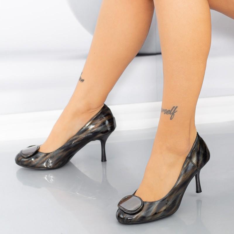 Pantofi cu Toc subtire YM602 Negru Mei