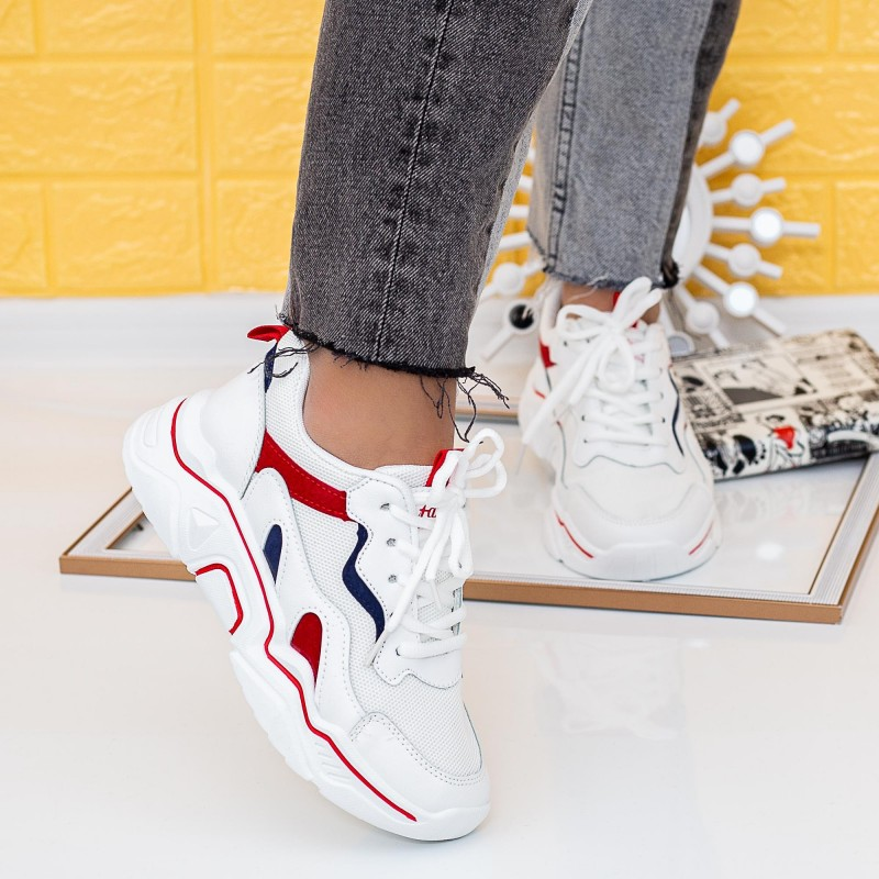 Pantofi Sport Dama X680 Alb-Rosu (N25) Se7en