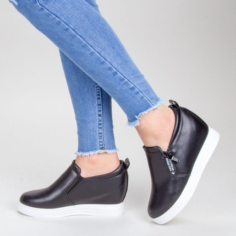 Pantofi Sport Dama cu Platforma 609 PSDP Black (---) Sport Fashion