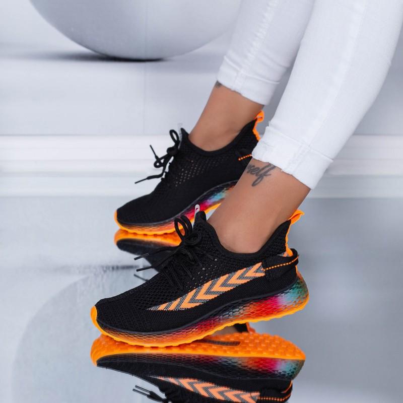 Pantofi Sport Dama YKQ198 Black-Orange (K28) Mei