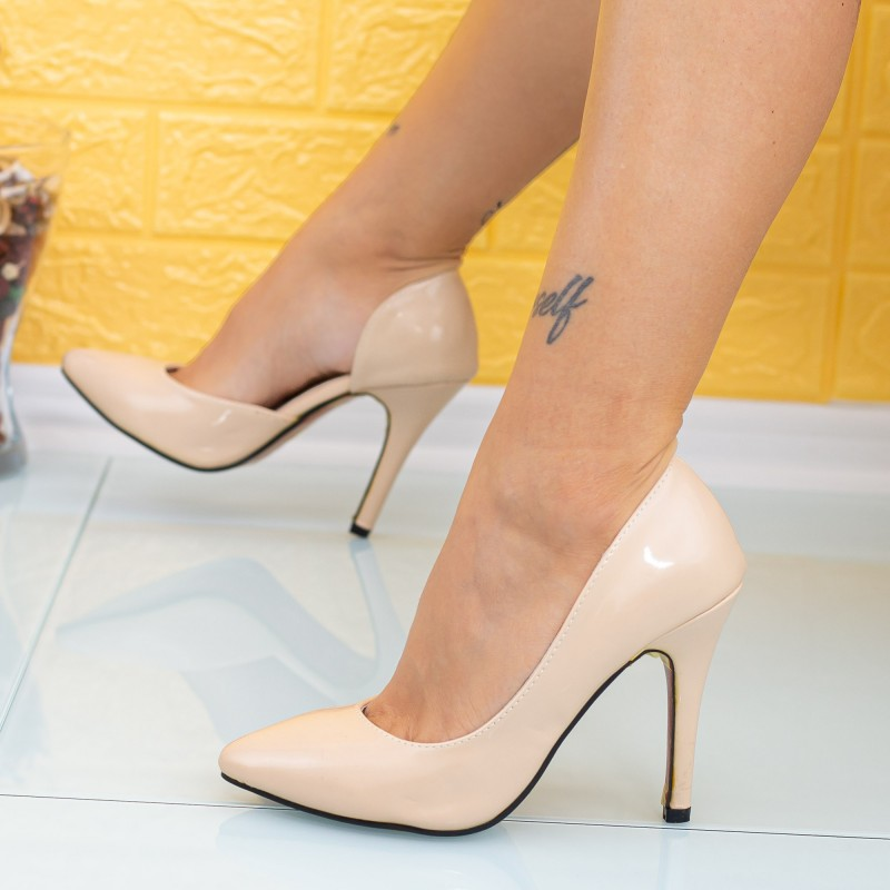 Pantofi cu Toc subtire MD8 Nude Mei