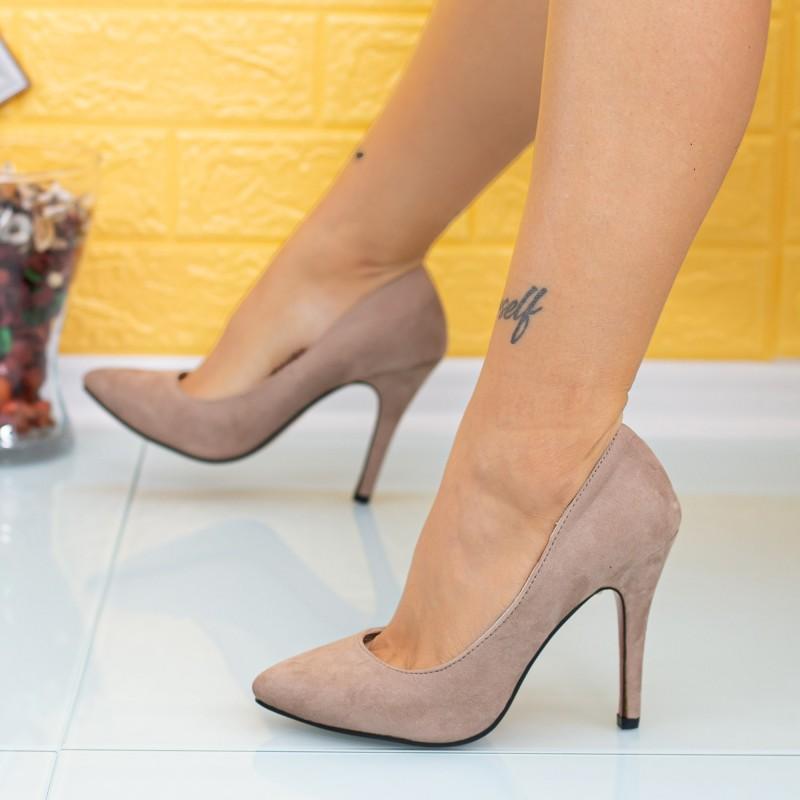 Pantofi cu Toc subtire OL0143 Kaki Mei