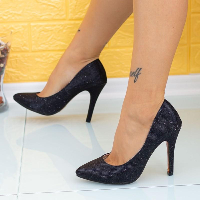 Pantofi cu Toc subtire OL0143-2 Negru Mei
