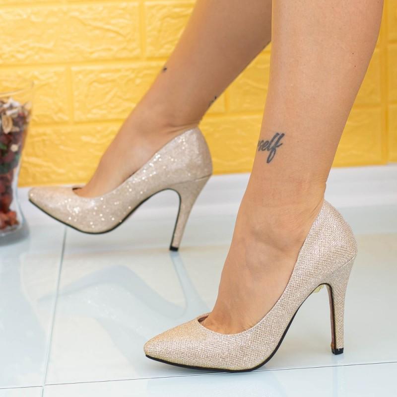 Pantofi cu Toc subtire OL0143-2 Auriu Mei