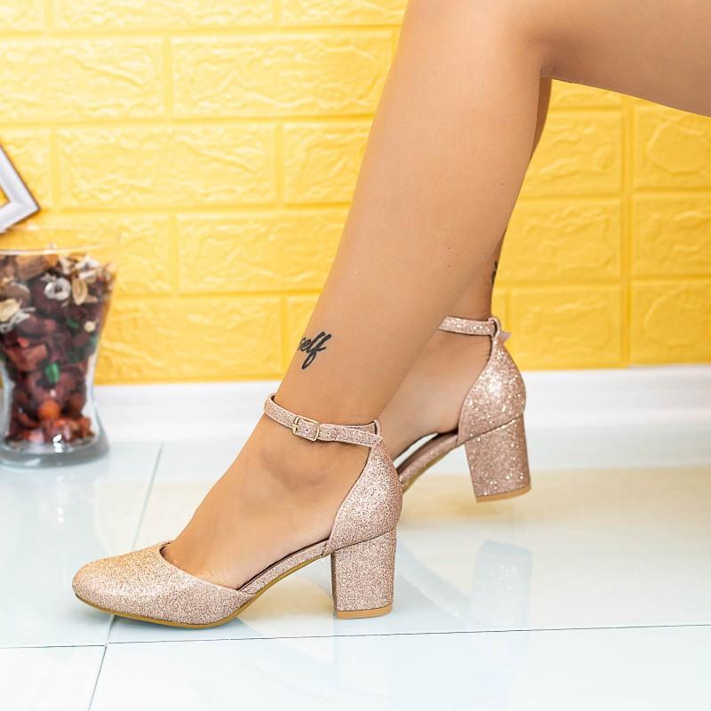 Pantofi cu Toc gros XD111C Champagne Mei
