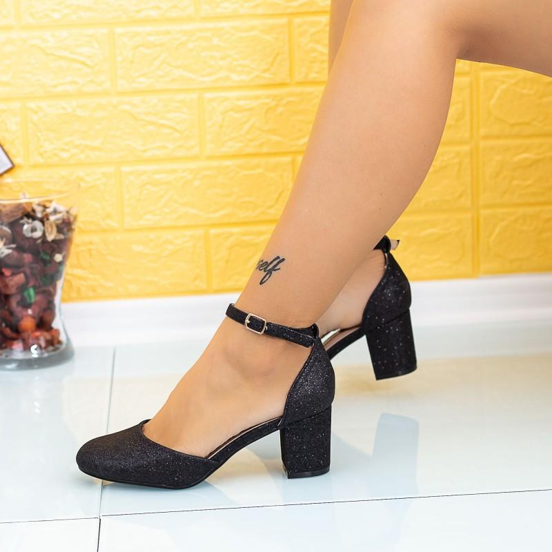Pantofi cu Toc gros XD111C Negru Mei