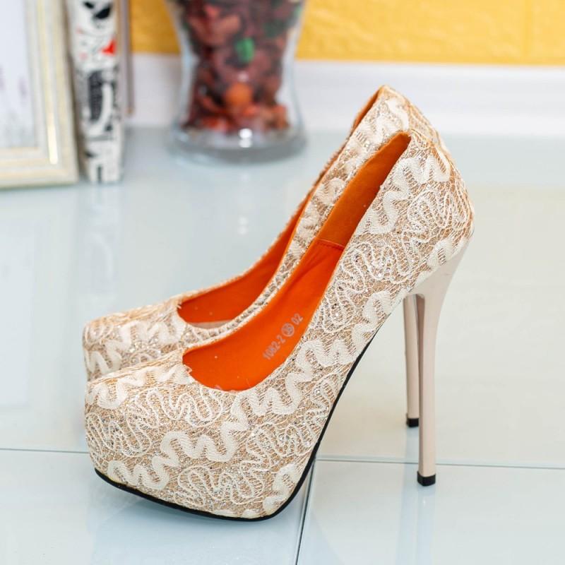 Pantofi cu Toc subtire si Platforma 1082-2 Auriu Mei
