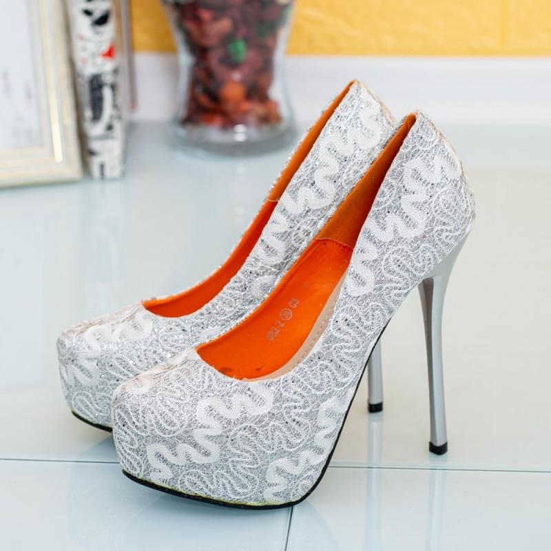 Pantofi cu Toc subtire si Platforma 1082-2 Argintiu Mei