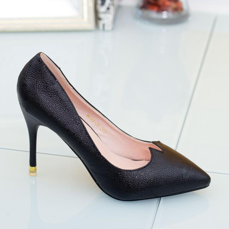 Pantofi cu Toc subtire M888-30 Negru Mei