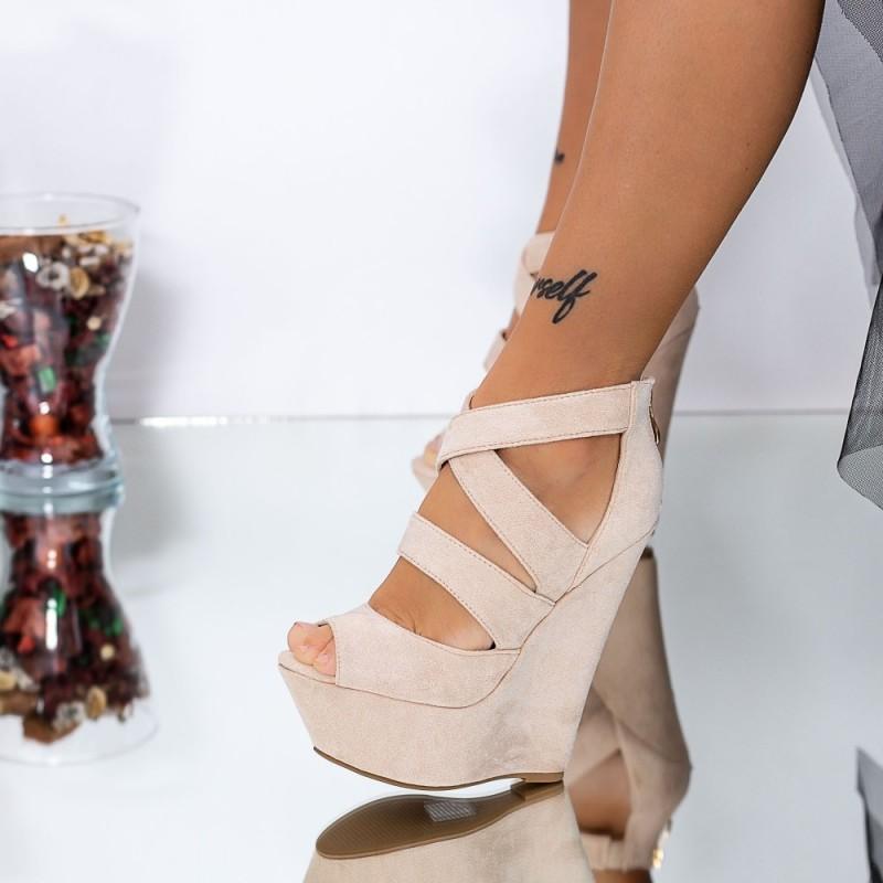 Sandale Dama cu Platforma XKK512 Nude Mei