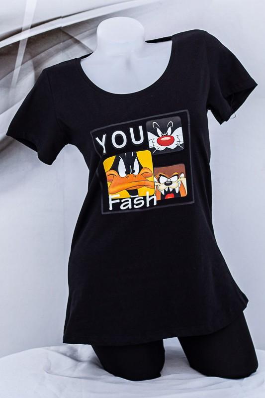 """Tricou Dama """"YOU Fash"""" 1833 Negru Fashion"""