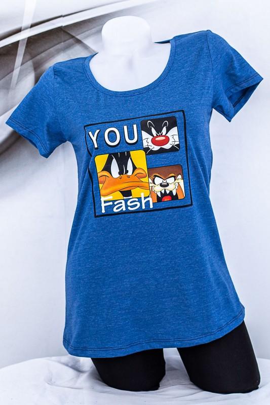 """Tricou Dama """"YOU Fash"""" 1833 Albastru Fashion"""