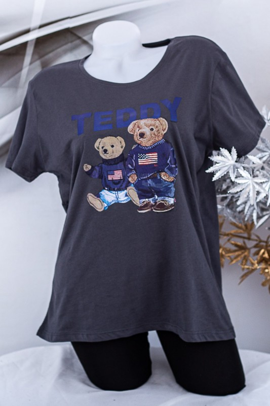 "Tricou Dama ""TEDDY"" 1834 Gri inchis Fashion"