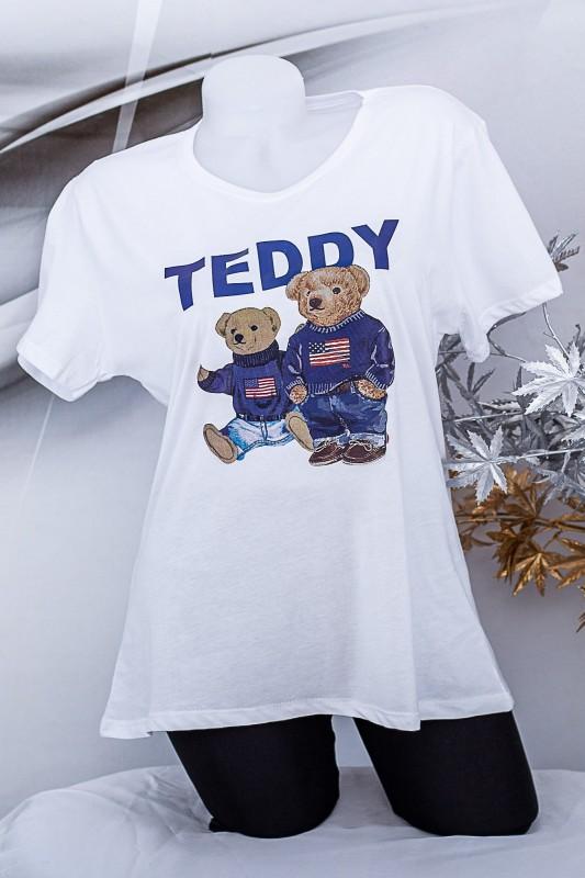 """Tricou Dama """"TEDDY"""" 1834 Alb Fashion"""