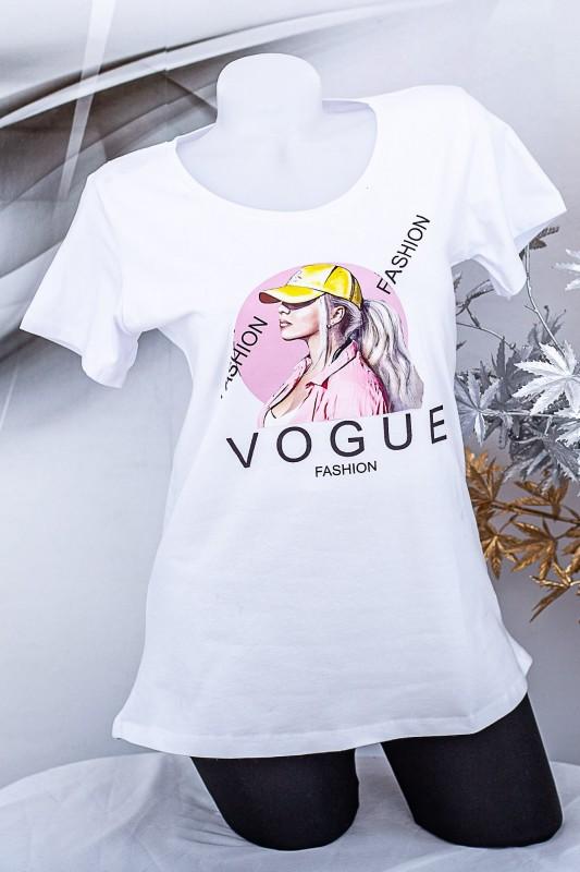 """Tricou Dama """"VOGUE FASHION"""" 1835 Alb Fashion"""