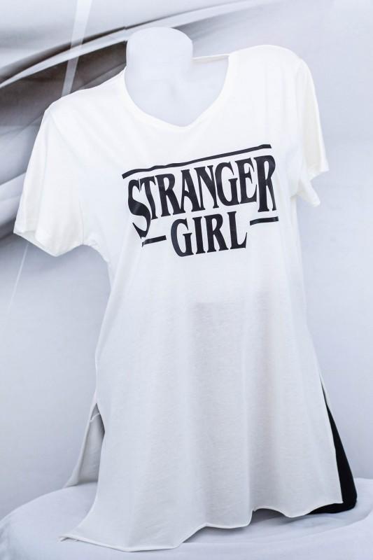 "Tricou Dama ""STRANGER GIRL"" 1826 Alb (G07) Fashion"