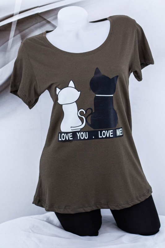 "Tricou Dama ""LOVE YOU, LOVE ME!"" 1830 Kaki (G53) Fashion"