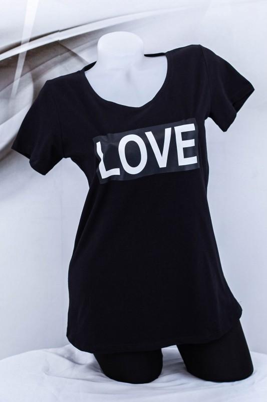 "Tricou Dama ""LOVE"" 1832 Negru (G72) Fashion"