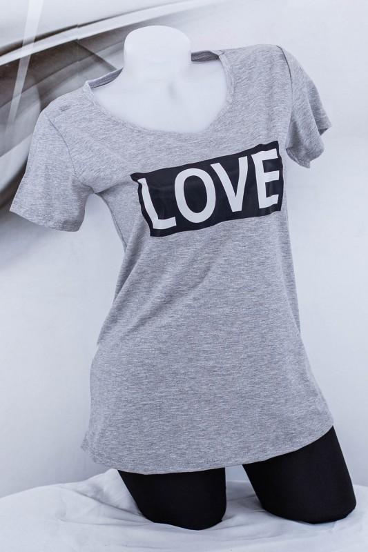 "Tricou Dama ""LOVE"" 1832 Gri (G72) Fashion"
