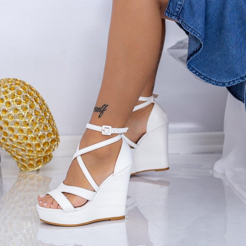 Sandale Dama cu Platforma HXS18 Alb Mei