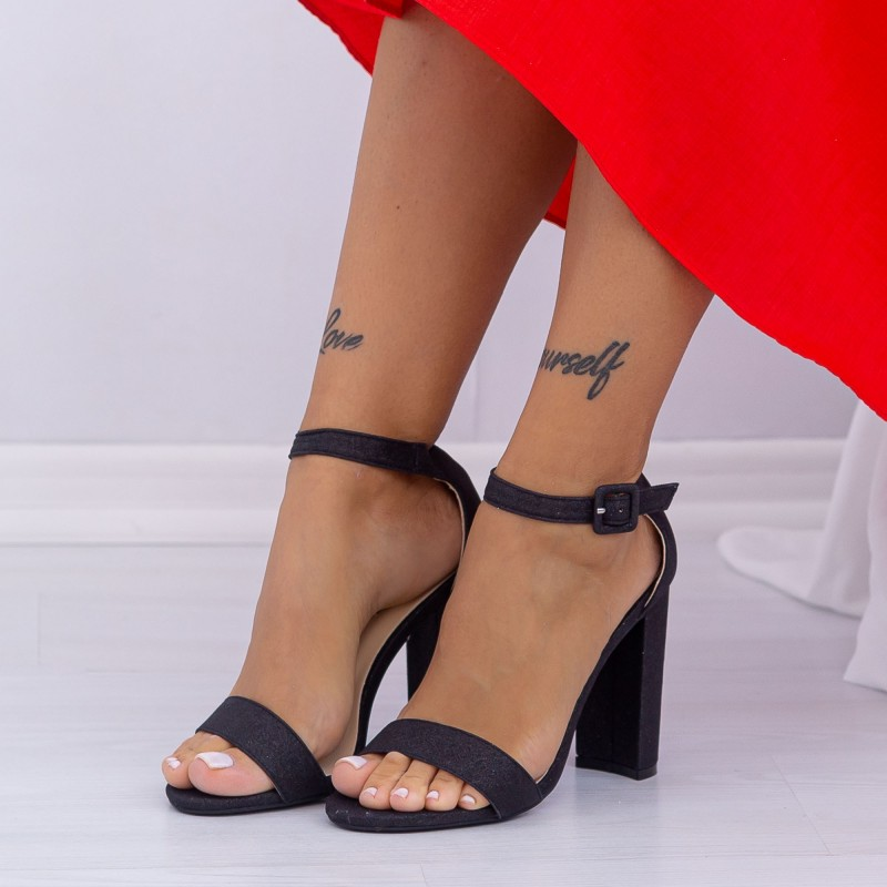 Sandale Dama cu Toc gros XKK165 Black Mei
