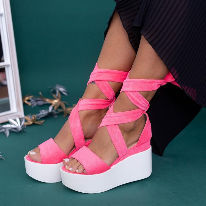 Sandale Dama cu Platforma GY6 Roz Mei