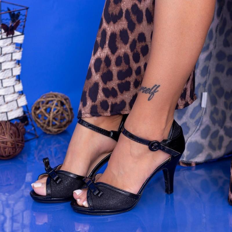 Sandale Dama cu Toc subtire QZL158 Black Mei