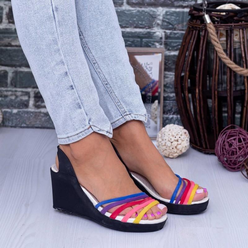 Sandale Dama cu Platforma 001 Negru Mei