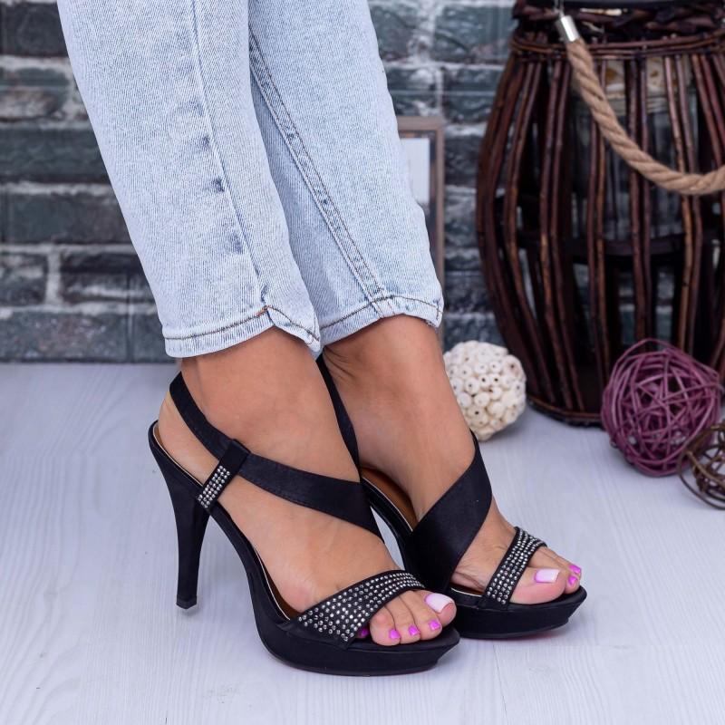 Sandale Dama cu Toc subtire GH13 Negru Mei