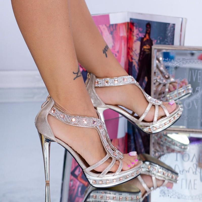 Sandale Dama cu Toc subtire GH30 Auriu Mei