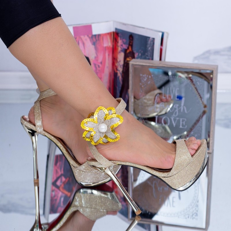 Sandale Dama cu toc subtire si Platforma MG2 Auriu Mei
