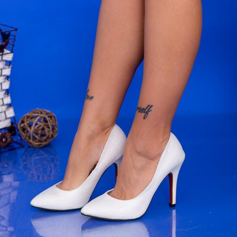 Pantofi cu Toc subtire OL0143-1 Alb Mei