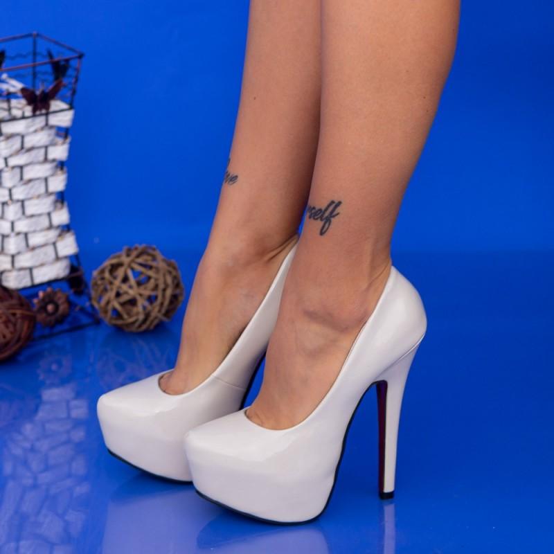 Pantofi cu Toc subtire si Platforma OLZH1 Bej Mei