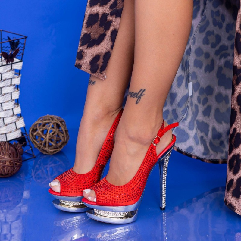 Sandale Dama cu Toc subtire si Platforma RZ19 Rosu Mei