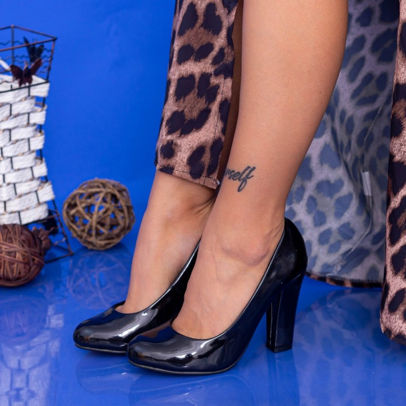 Pantofi cu Toc gros RZ25-1 Negru Mei