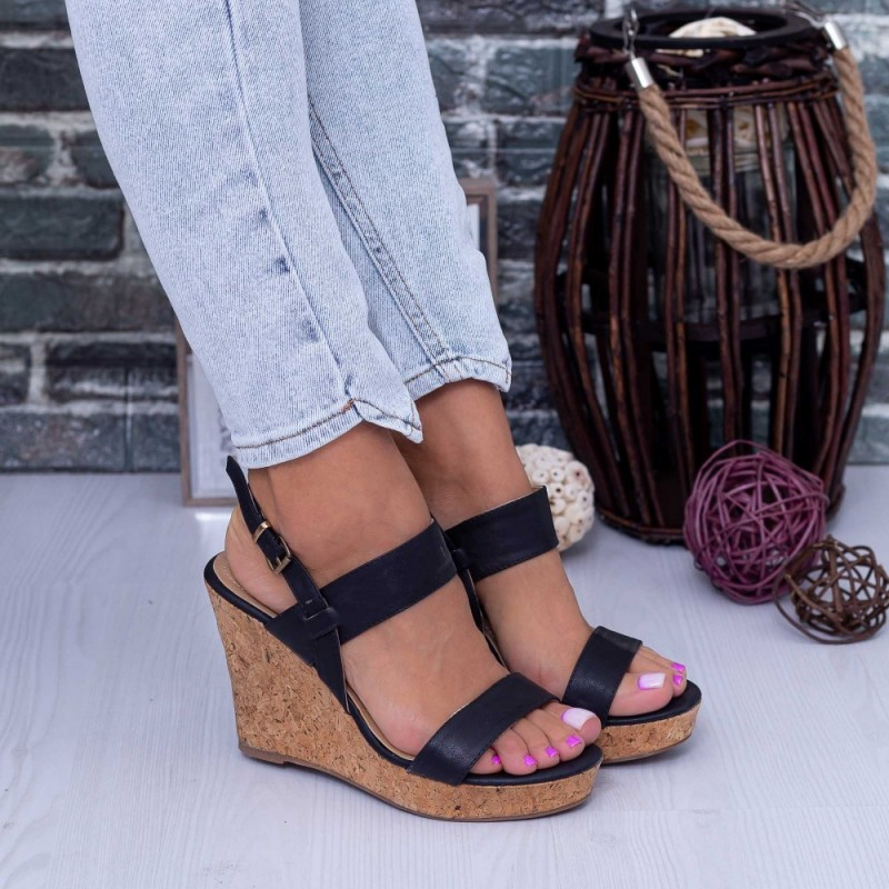 Sandale Dama cu Platforma WH1005 Negru Mei