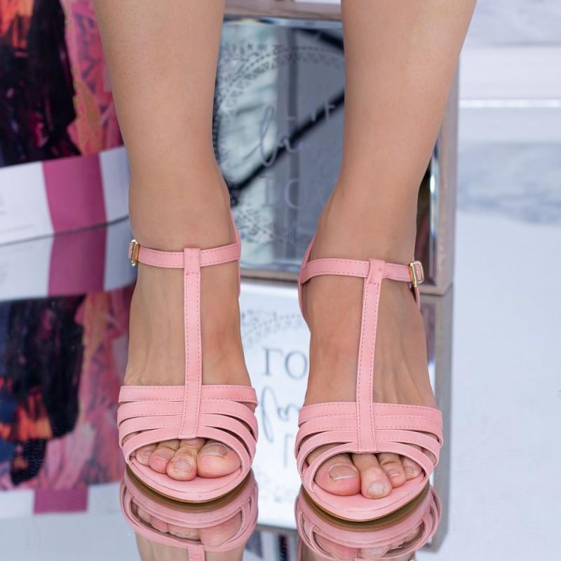 Sandale Dama cu Toc subtire WT56 Roz Mei