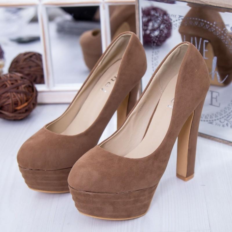 Pantofi cu Toc gros si Platforma Y203 Kaki Mei
