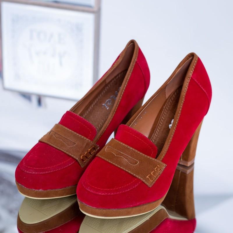 Pantofi cu Toc gros YT33 Rosu Mei
