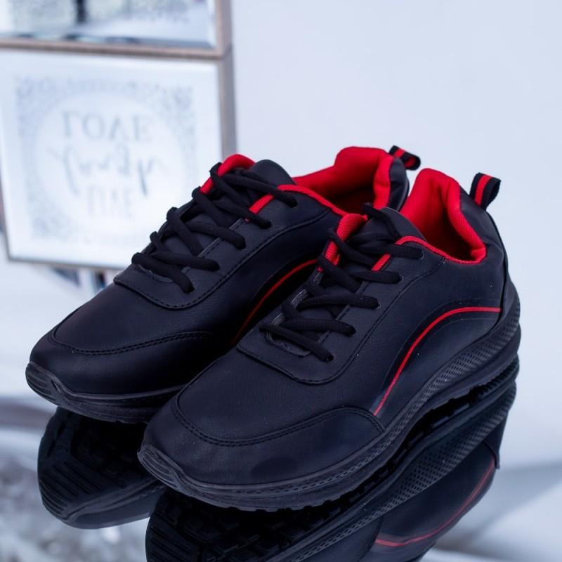 Pantofi Sport Barbati C23 Negru-Rosu Fashion