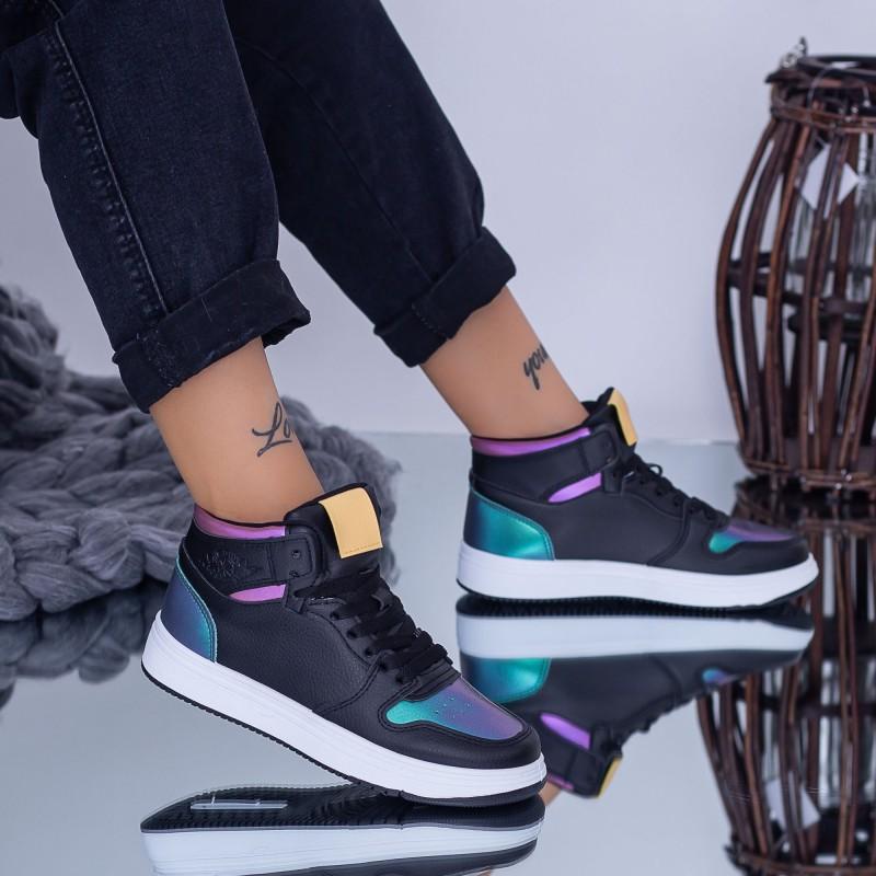 Pantofi Sport Dama KJ12 Negru-Galben Fashion